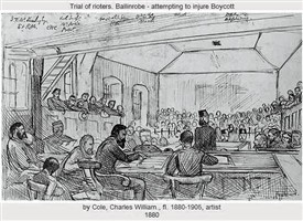 Photo:Drawing by Cole of Ballinrobe Courthouse interior 1888