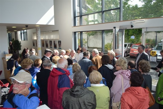 Photo:Ballinrobe's Credit Union building containing an exhibition of Felix Waitkus historic flight across the Atlantic