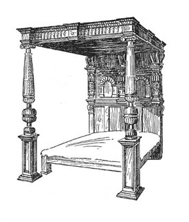 Photo:Late 16th centurary bed - the posts are nulled and the lower turned portion is of the cup and cover type.
