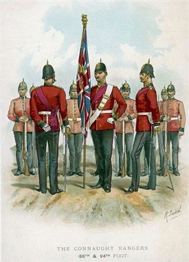 Photo:By Richard Simkin (1850- 1926).  He was a British draughtsman and occasional lithographer of military uniforms.  He was employed by the British War Office to design recruiting posters, and to illustrate the Army and Navy Gazette.  During his lifetime, he produced thousands of watercolors depicting the uniforms and campaigns of the British Army and also contributed illustrations to numerous publications including the Graphic and others.