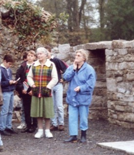 Photo:Mrs. Bridie Mulloy (check jacket) and Mrs. Kathleen Ryder
