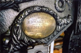 Photo:Detail of manufacturer of Columbian Press