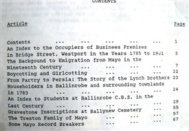 Photo:Contents 1991 Family Research, Ballinrobe, County Mayo, Ireland