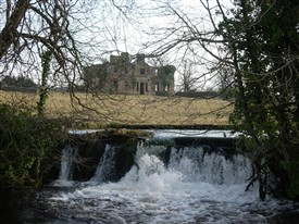 Photo:Ruin of Cranmore House with the Bulkaun waterfall in the foreground