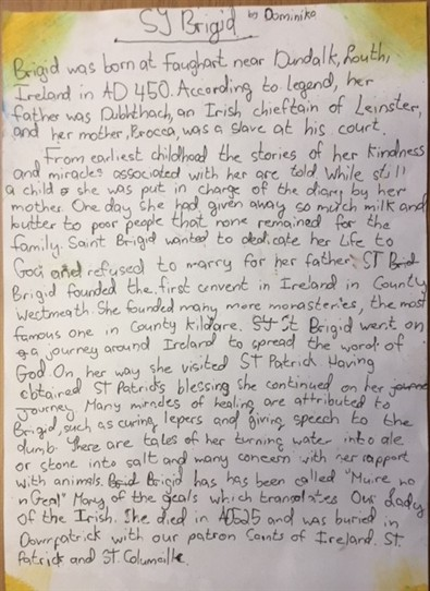 Photo:The Story of St. Brigid by By Isha & Dominika 6th Class St. Joseph's NS Ballinrobe, Co Mayo