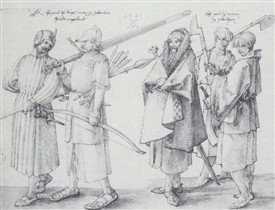 Photo:A drawing by Albrecht Dürer in 1521 shows four men: the one on the left wears a thick, padded acton (Gaelic: cótun), worn in western Europe in the 13th-15th centuries, and still worn in Scotland and Ireland in the 16th century. The second from the left wears chain mail which has given way to plate armour in much of Europe. The man in the middle wears a mantle with a shaggy lining. The two younger men on the right wear jackets with wide sleeves. All men wear léinte (the linen shirts).
