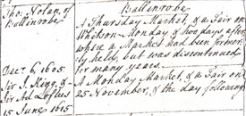 Photo:Copy of record of 1605 granting Market status to Ballinrobe