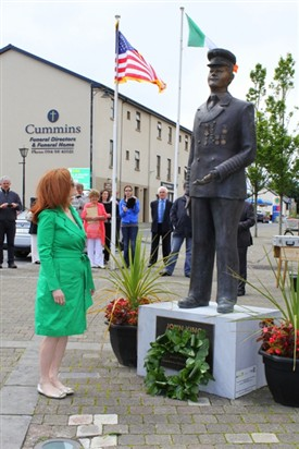 Photo:Maureen Dowd having laid a wreath at the John King memorial, Ballinrobe, Co. Mayo