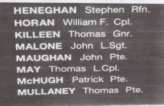 Photo:Thomas May's inclusion on the memorial wall in the Mayo peace park Garden of Remembrance in Castlebar.