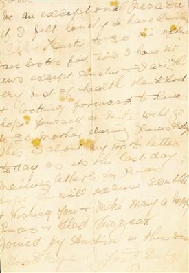 Photo:Extract from letter written to Kate from her sister Rose in 1911