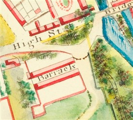 Photo:Detail of Barrack showing two rows of buildings. Note one of the original bastions has been removed. Date c.1825. MS 22014 Knox Estate Map NLI.