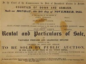 Photo:Image shows a typical front cover of a catalogue produced for the disposal of estates offered for sale through the Encumbered Estates Court in 1855.