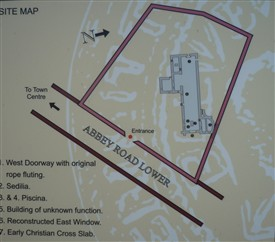 Photo:Plan of Abbey - detail from the information board within complex