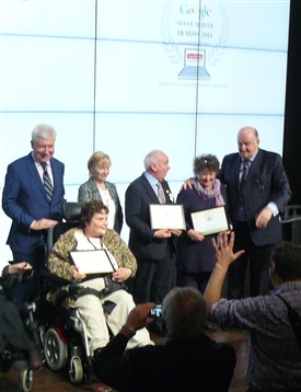 Photo:Some of the finalists  receiving their Google certificates from Minister White. Averil beside George Hook