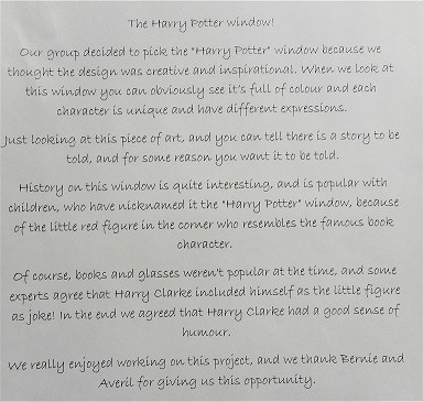 Photo: Illustrative image for the 'Harry Potter detail from Harry Clarke stained-glass by Naoise H, Rebecca & David' page