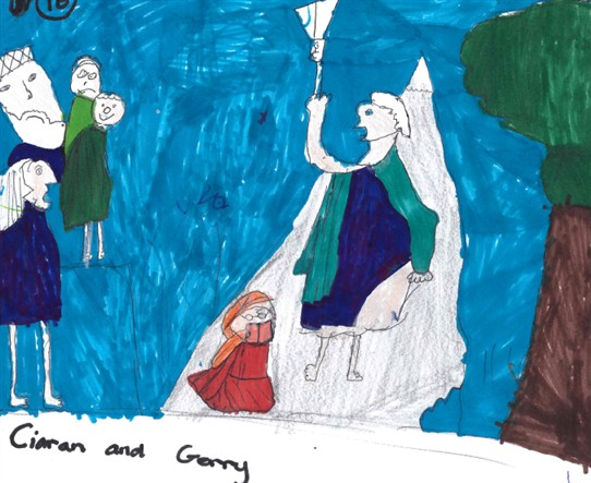 Photo: Illustrative image for the 'Kieran & Gerry - St Fechin, by Harry Clarke - Story at base of panel' page
