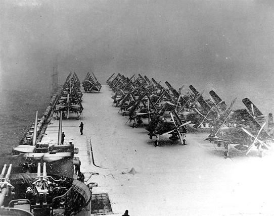 Photo:Snow on deck the USS Philippine Sea North Pacific 1945