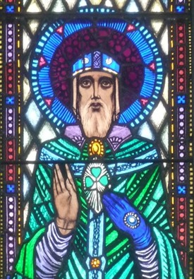 Photo:St. Patrick represented in a stained-glass window in St. Mary's RC Church, Ballinrobe.  The artist was the well-known Harry Clarke.
