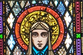 Photo:Head & halo of St. Brigid by Harry Clarke, St. Mary's Church, Ballinrobe, County Mayo