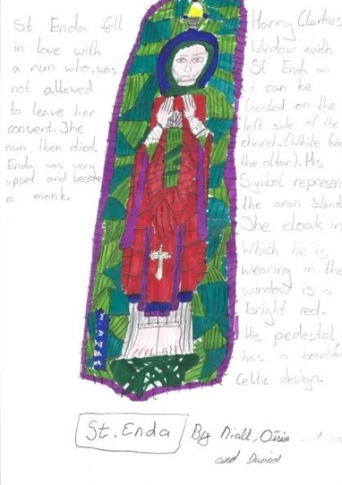 Photo: Illustrative image for the 'St. Enda of Aran, Harry Clarke stained-glass window' page