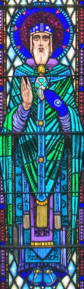 Photo:St Patrick's stained-glass panel from St. Mary's RC Church, Ballinrobe, Co Mayo home to one of Ireland's greatest collection of Harry Clarke windows