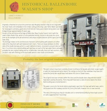 Photo:Walsh's Shop, Abbey Street, Ballinrobe. Board created by the Ballinrobe Archaeological & Historical Society to share information about this shop