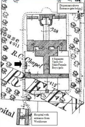 Photo:Plan of Ballinrobe Workhouse showing Hospital to the rear of site.