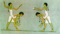 Photo:Painting of Egyptians playing hand-ball from a tomb interior